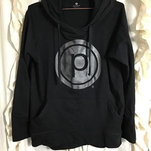 Pure Barre black metallic logo hoodie